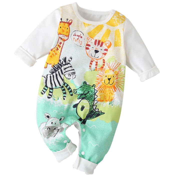 Baby Animal Cartoon Print Long Sleeves Casual Pajamas Rompers For 0-18M
