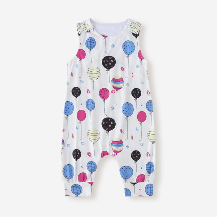 Baby Balloon Print Sleeveless Casual Rompers For 6-24M