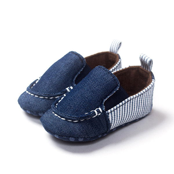 Baby Canvas Denim Slip On Cowboy Pre-Walking Flat Shoes For 0-24M