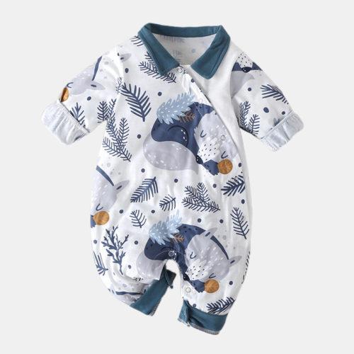 Baby Cartoon Bear Print Long-Sleeved Casual Sleep Rompers For 0-18M