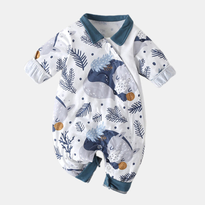 Baby Cartoon Bear Print Long-Sleeved Casual Sleep Rompers For 0-18M