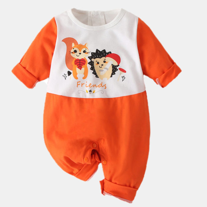 Baby Cartoon Print Long Sleeves Casual Patchwork Rompers For 0-18M