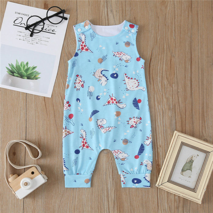 Baby Cartoon Print Sleeveless O-neck Casual Blue Rompers For 6-24M