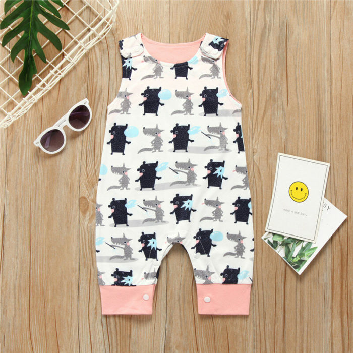 Baby Cartoon Print Sleeveless O-neck Cotton Casual Rompers For 0-24M