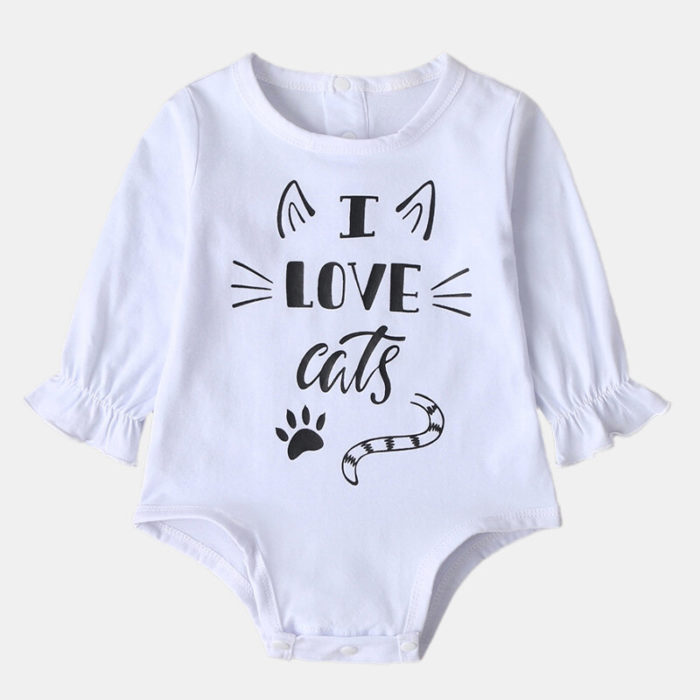 Baby Casual Sleep Cartoon Letter Print Long Sleeves Rompers For 0-18M