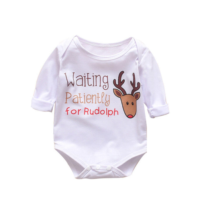 Baby Christmas Elk Print Long Sleeves Casual Pajamas Rompers For 0-24M