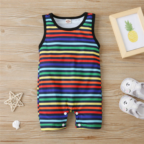 Baby Colorful Striped Print Sleeveless Casual Rompers For 6-24M