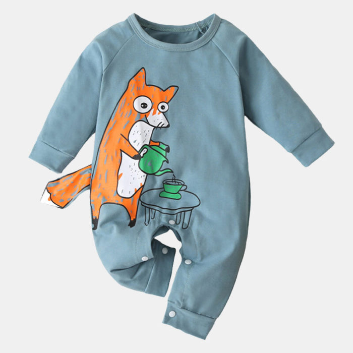 Baby Cute Cartoon Print Soft Long Sleeves Casual Sleepwear Rompers For 0-18M