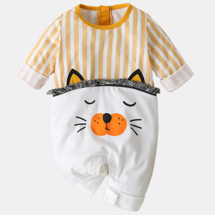 Baby Cute Cat Striped Print Long Sleeves Patchwork Casual Sleep Rompers For 0-18M