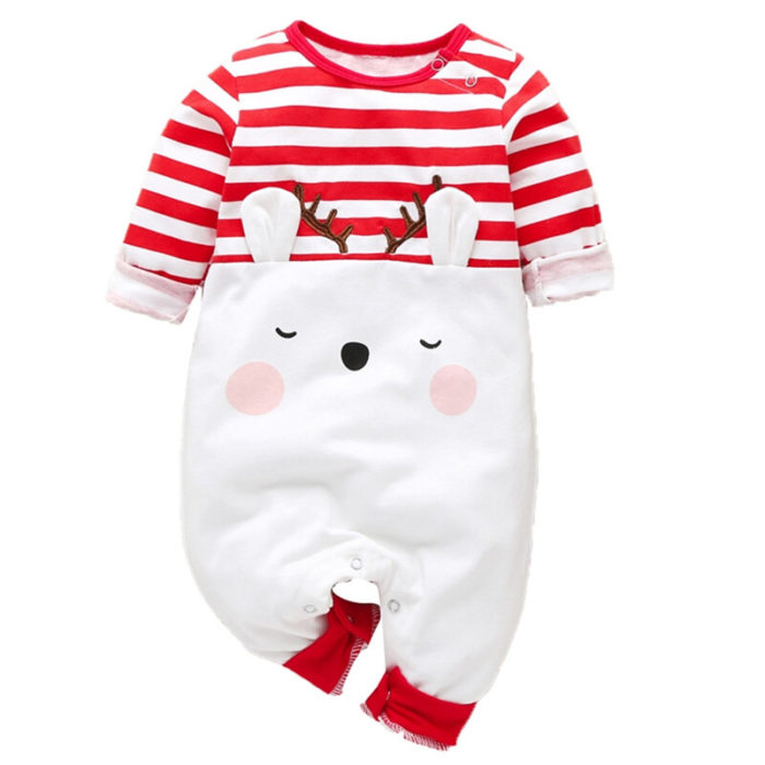Baby Cute Christmas Elk Striped Long Sleeves Casual Rompers For 0-18M