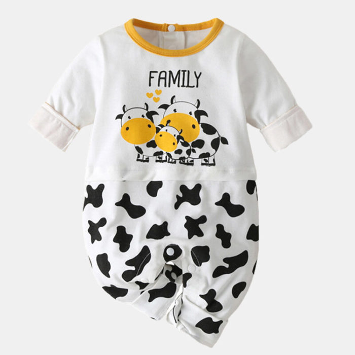 Baby Cute Cow Print Long-sleeved Casual Rompers For 0-18M