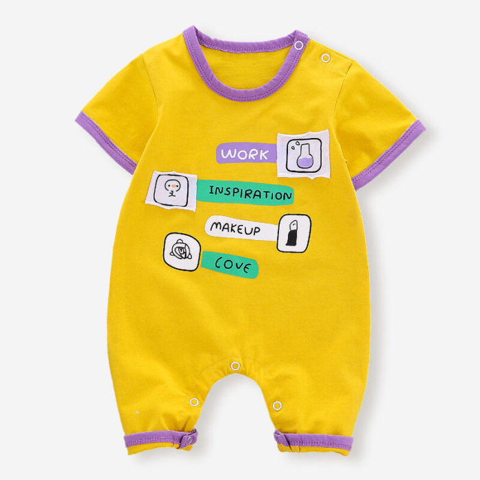 Baby Cute Print Short Sleeves O-neck Soft Cotton Casual Rompers For 3-18M
