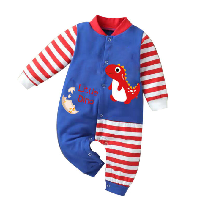 Baby Dinosaur Striped Long Sleeves Patchwork Casual Rompers For 0-18M