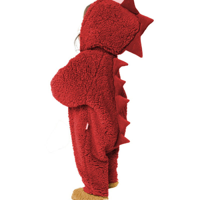 Baby Dinosaur Zipper Hooded Long Sleeves Winter Thicken Coral Fleece Rompers For 0-18M