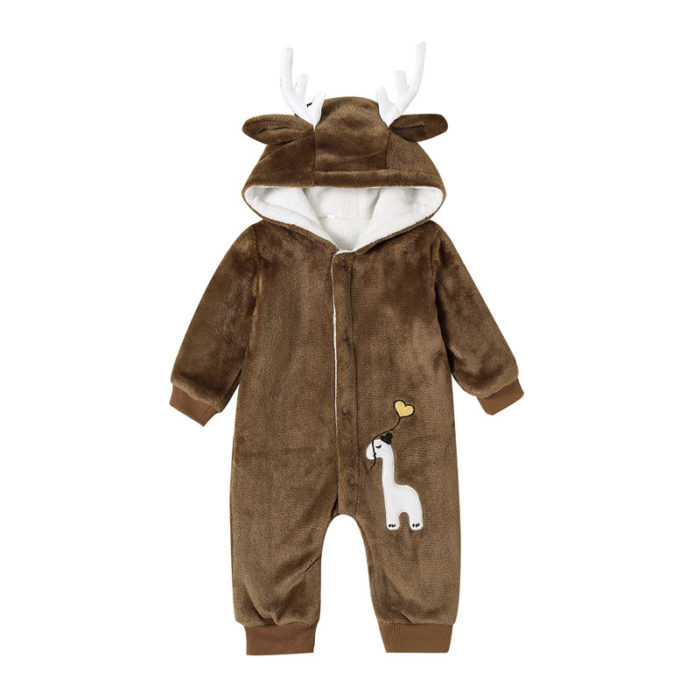 Baby Elk Hooded Long Sleeves Casual Thicken Warm Rompers For 0-24M