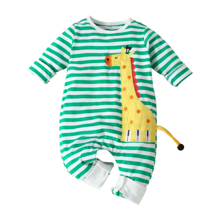 Baby Giraffe Print Striped Long Sleeves Pajamas Rompers For 0-18M