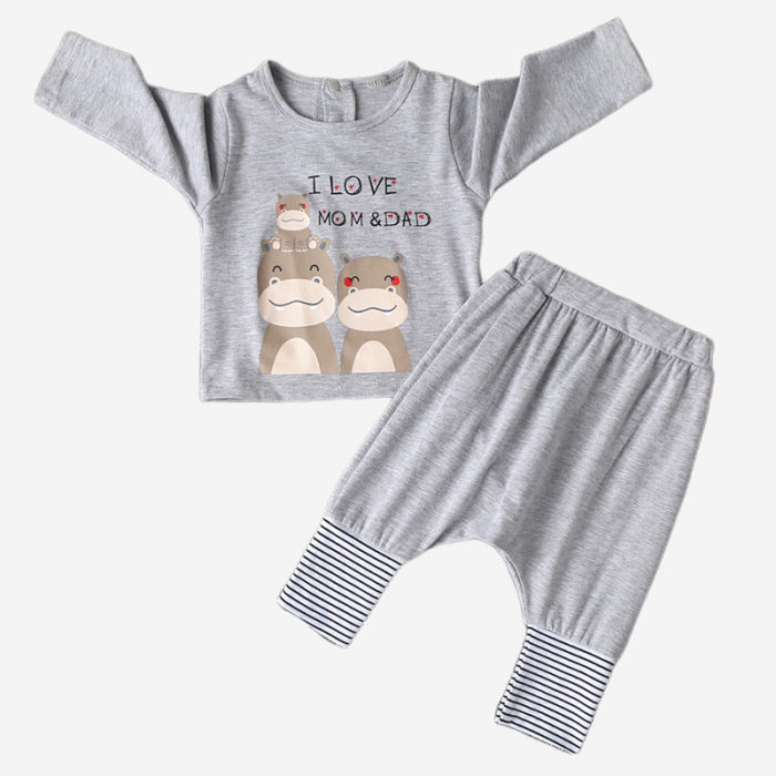 Baby Hippo Print Striped Patchwork Long-sleeved Casual Clothing Sets For 0-24M