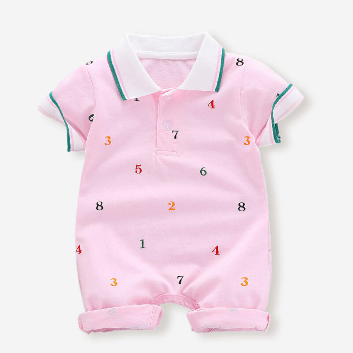 Baby Numbers Print Short Sleeves Turn-Down Collar Casual Rompers For 3-18M