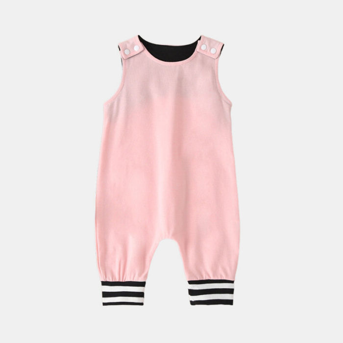 Baby Solid Color Striped Patchwork Sleeveless Casual Rompers For 6-24M