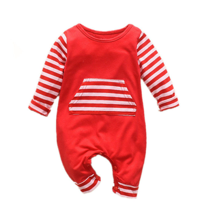 Baby Striped Patchwork Long Sleeves Casual Pajamas Rompers For 0-24M