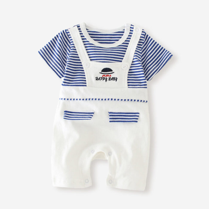 Baby Striped Print Short Sleeves O-neck Cotton Casual Rompers For 3-18M