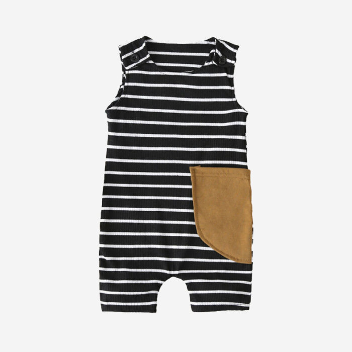 Baby Striped Print Sleeveless Casual Rompers For 6-24M