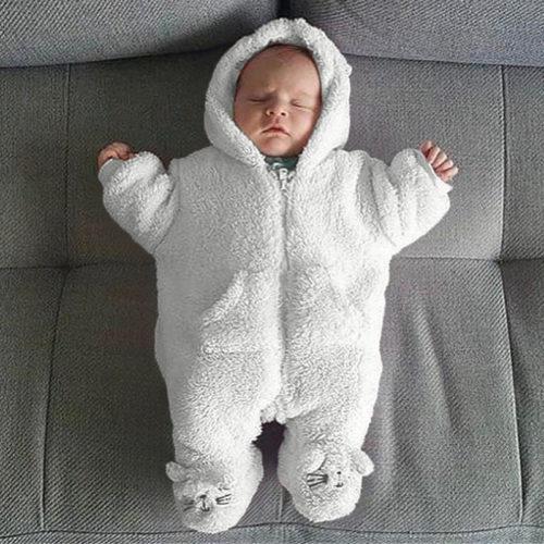 Baby White Soft Sleeping Bag Warm & Velvet For 0-24M
