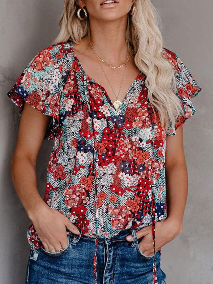 Bandage Floral Print Short Sleeve V-neck Blouse For Women