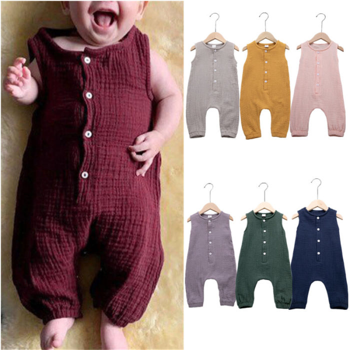 Bbay Cotton And Linen 7-color One-piece Sleeveless Romper For 0-24M