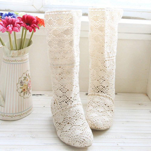 Big Size Lace Mid Calf Slip On Hollow Out Elegant Wedge Heel Boots
