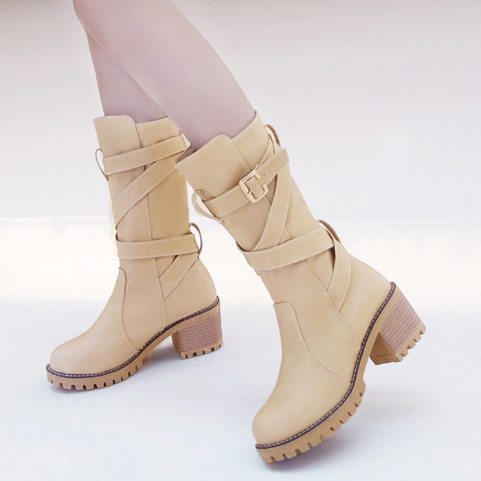 Big SizeAutumn Winter Women Belt Buckle Strappy Thick Heel Riding Mid Calf Boots