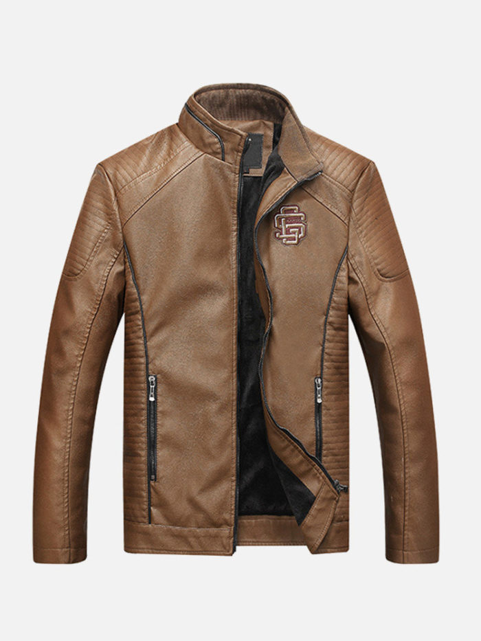 Biker All Match Stylish Thick Warm Pockets Washed PU Leather Jackets for Men