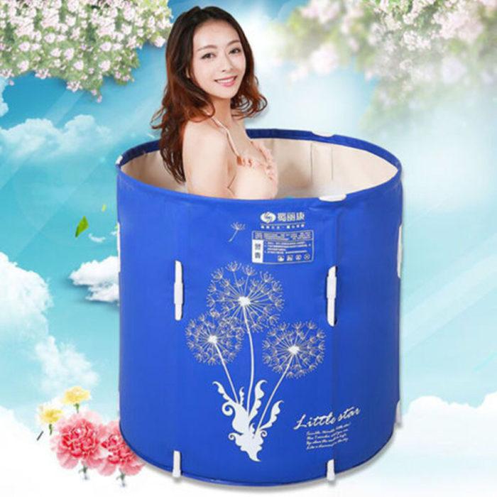 Blue 70x70cm Portable Bath TUBS Adult Bathtub Adult Folding Bathtub Easy Cleaning Home Sauna Barrel