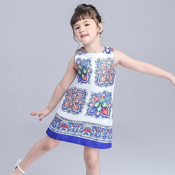 Blue And White Porcelain Print Sleeveless Dress For Kids Girls