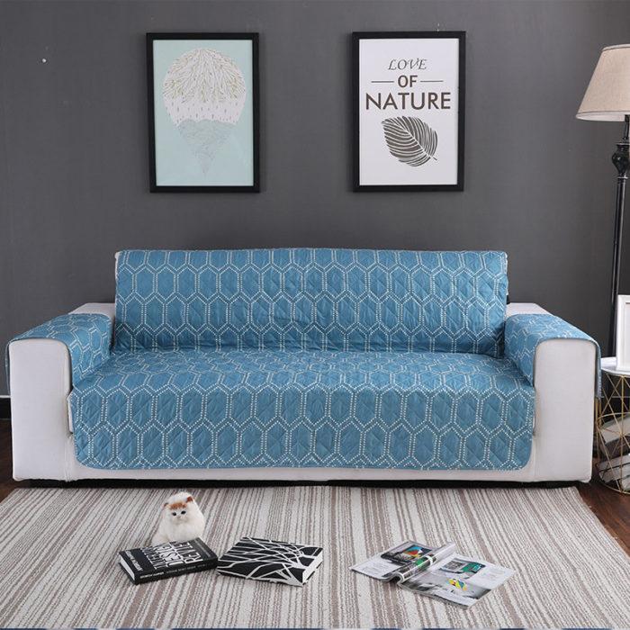 Blue Flower Pattern Anti-scratch Pet Sofa Furniture Protector Mat Waterproof Dog Cat Sofa Mat