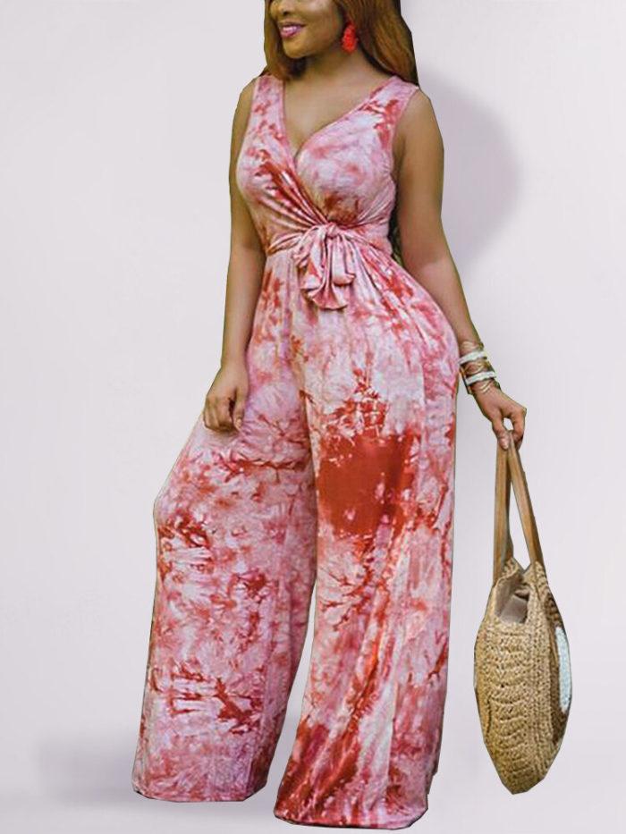 Bohemia Print Sleeveless Plus Size Jumpsuit with Belt