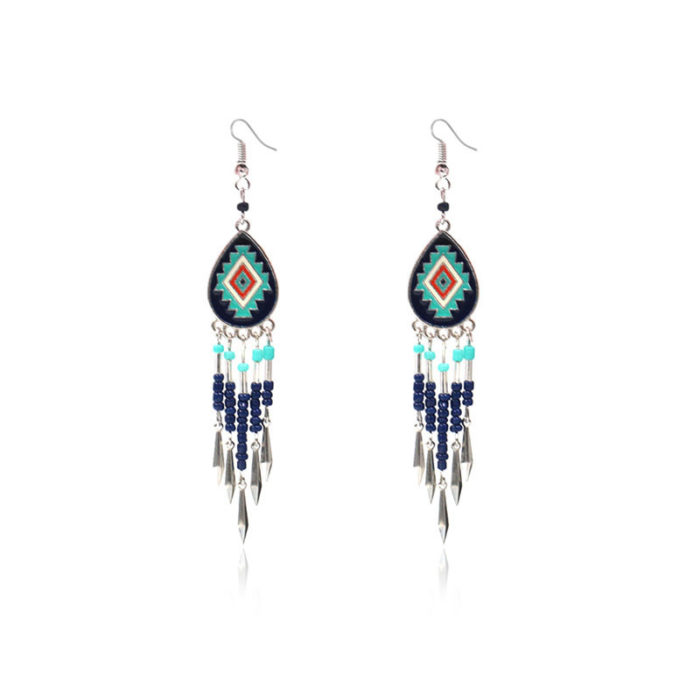 Bohemian Geometric Colorful Tassels Dangle Earrings Ethnic Drop Earrings for Women