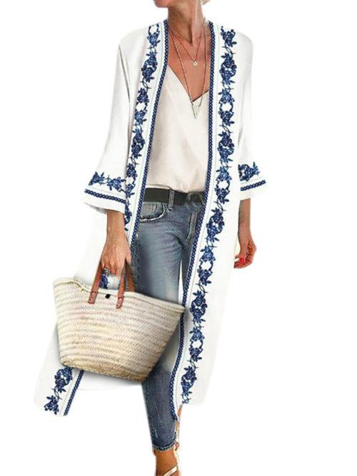 Bohemian Print Long Sleeve Summer Plus Size Kimono