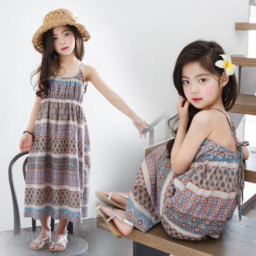 Bohemian Style Girls Kids Summer Beach Casual Dress For 3Y-15Y
