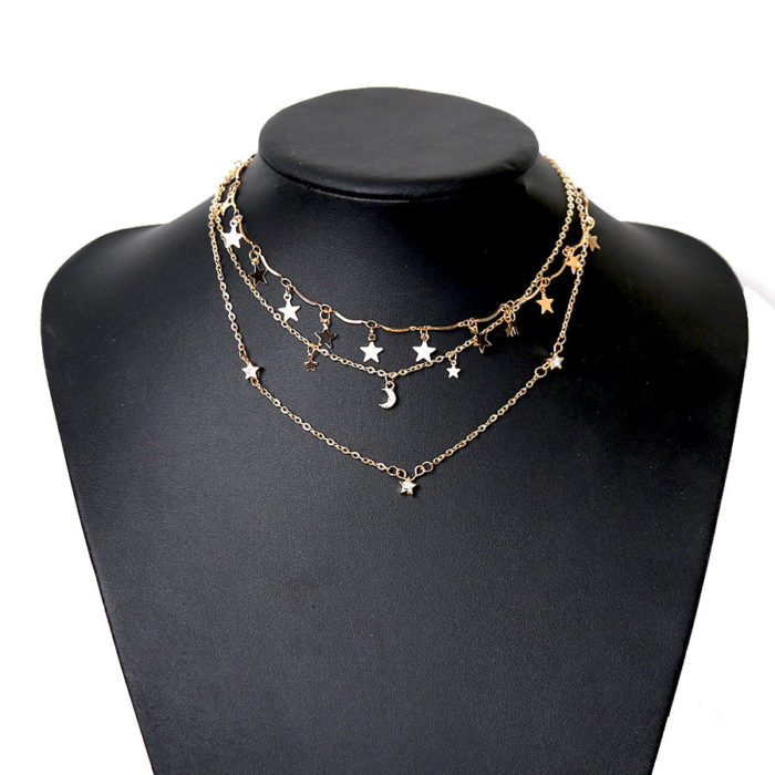 Bohemian Women Star Moon Multilayer Necklaces Vintage Slice Beads Chain Crescent Pendant Necklace