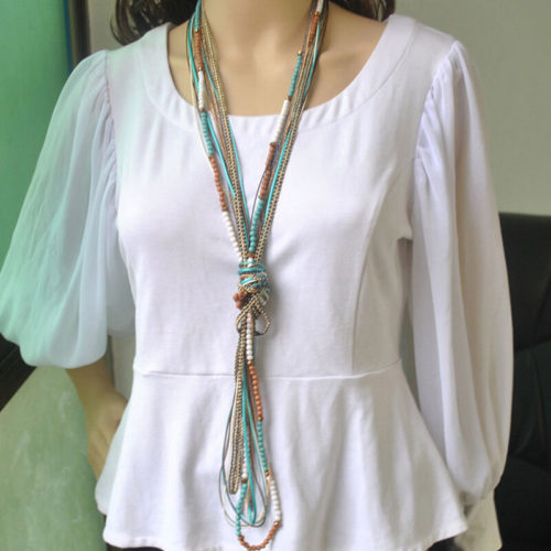 Bohemian Wooden Beads Tassel Long Necklace Vintage Metal Chain Multi-layer Necklace
