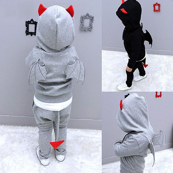 Boys Clothes Casual Long Sleeve Suit Children Sets Cartoon Little Devil Halloween Costumes