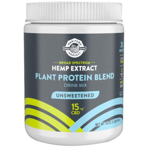 Broad Spectrum Hemp Extract CBD Plant Protein Blend Drink Mix, Unsweetened, 16 oz, Manitoba Harvest Hemp Foods