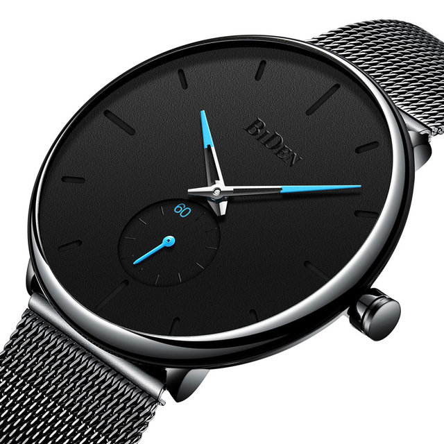Business Quartz Watches No Number Thin Dial Stainless Steel Strap Fashion Jewelry for Men