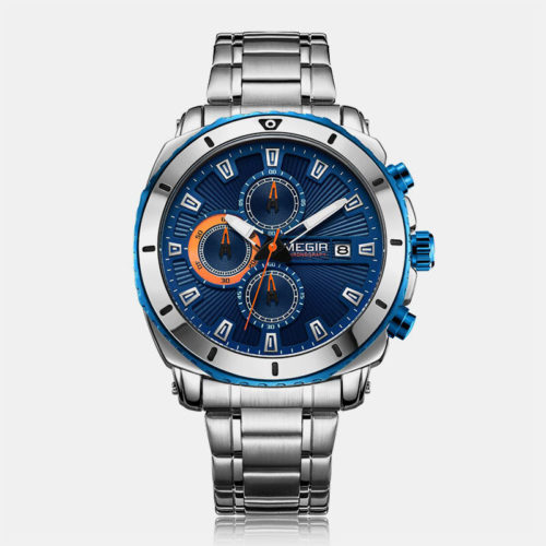 Business Sports Men Watch Stainless Steel Band Small Three-Hand Dial Chronograph Quartz Watch