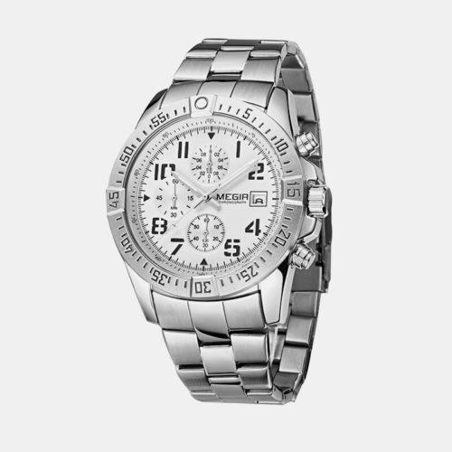 Business Sports Men Watch Stainless Steel Strap Chronograph Multifunctional Quartz Watch
