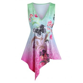 Butterflies and Flowers Print Tank Top