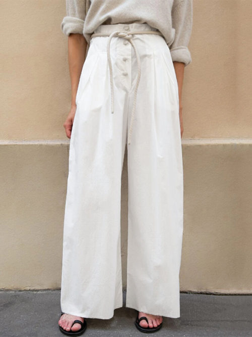 Button High Waist Plus Size Wide Leg Pants for Women