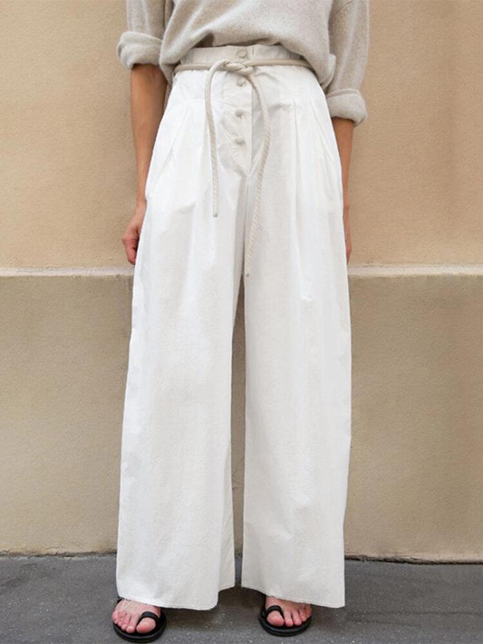 Button High Waist Plus Size Wide Leg Pants for Women