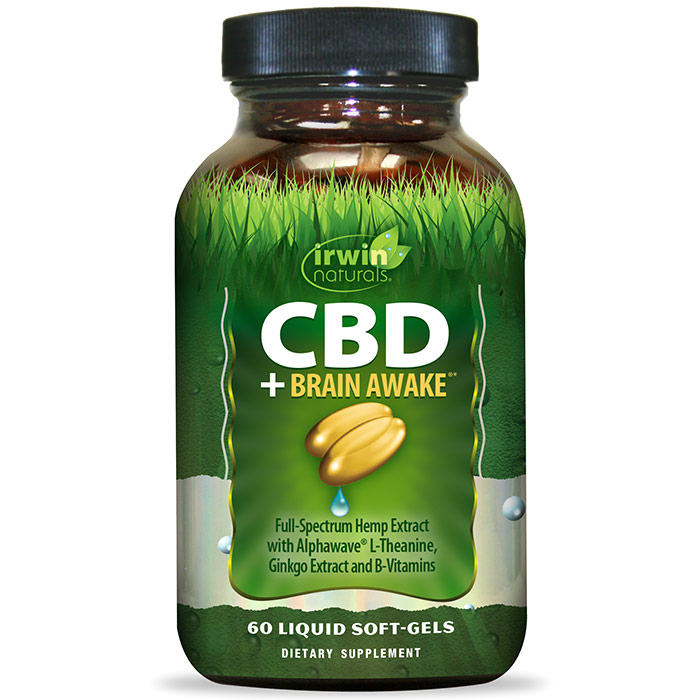 CBD + Brain Awake, 60 Liquid Soft-Gels, Irwin Naturals